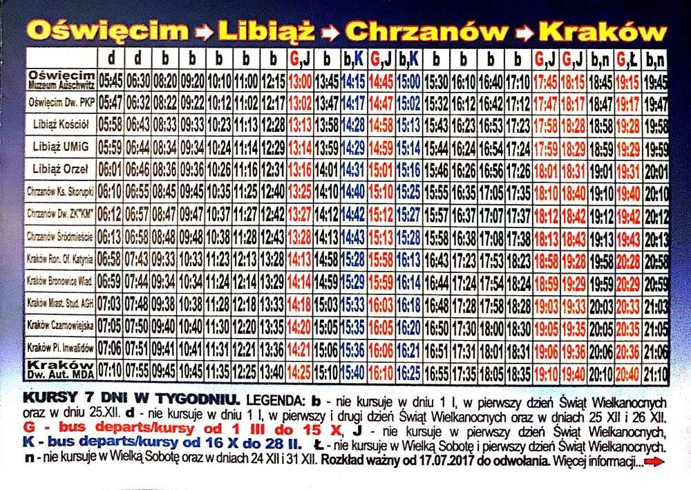Bus retour Auschwitz vers Cracovie horaires (Lajkonik)