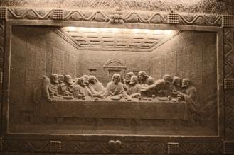La cène, dernier repas du christ sculpté